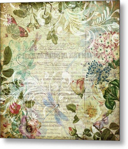 Vintage Botanical Illustration Collage Metal Print