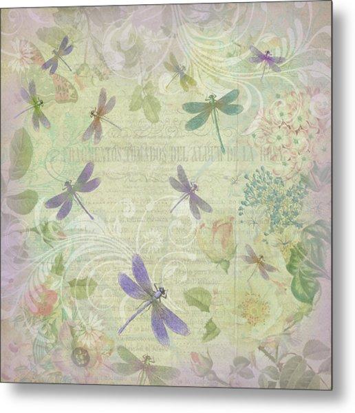 Vintage Botanical Illustrations And Dragonflies Metal Print