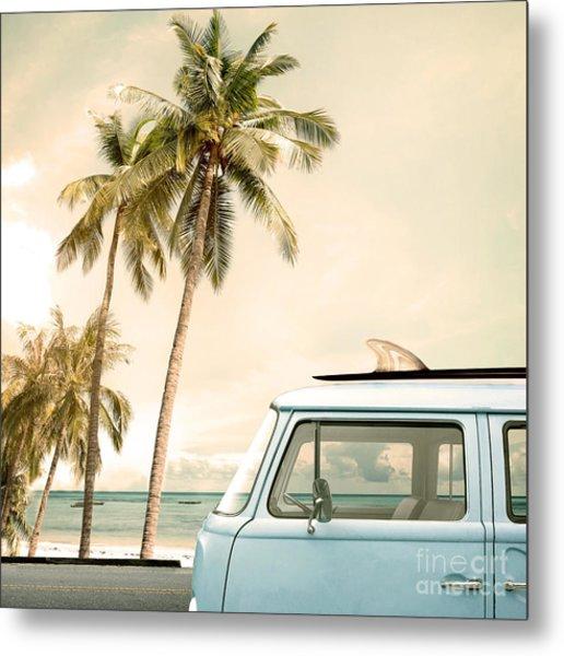 Vintage Car Parked On The Tropical Metal Print by Jakkapan