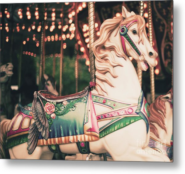 Vintage Carousel Horse Metal Print by Andrekart Photography