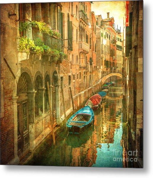 Vintage Image Of Venetian Canals Metal Print