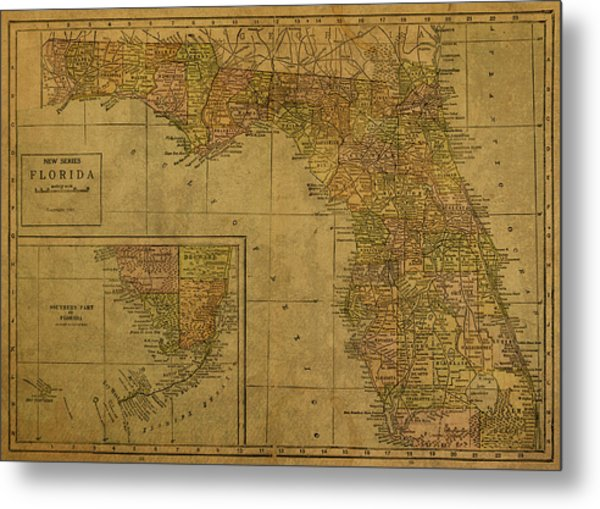 Vintage Map Of Florida 1921 Metal Print
