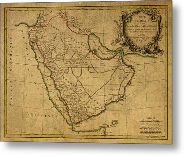Vintage Map Of Saudi Arabia And Arabia Peninsula Metal Print