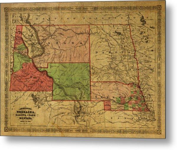 Vintage Map Of Western States Usa 1866  Metal Print