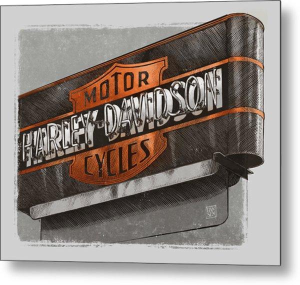 Vintage Motorcycle Shop Metal Print