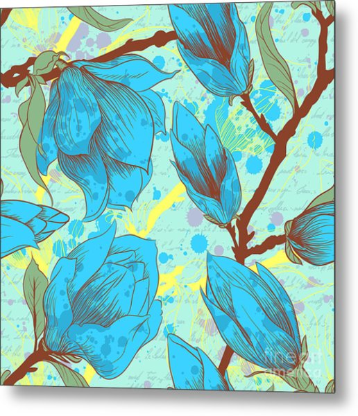 Vintage Seamless Pattern With Magnolia Metal Print by Elena Eskevich