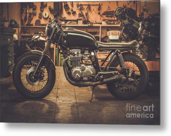 Vintage Style Cafe-racer Motorcycle In Metal Print