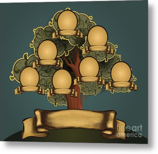 Vintage Style Family Tree Design Metal Print