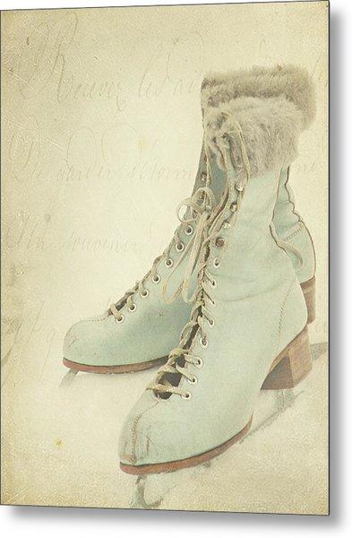Vintage Teal Skates Metal Print