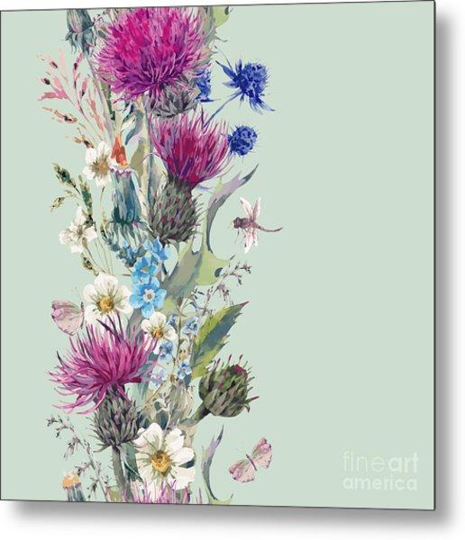 Vintage Vertical Watercolor Herbal Metal Print