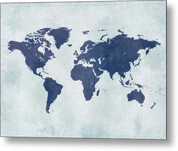 Vintage World Map Metal Print by Yorkfoto