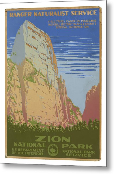 Vintage Zion Travel Poster Metal Print