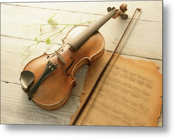 Violin And Music Sheet Metal Print by Image Work/amanaimagesrf