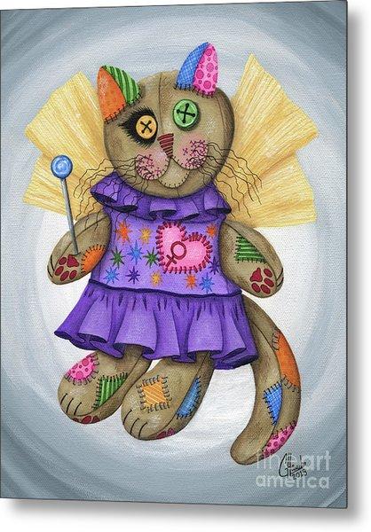 Voodoo Empress Fairy Cat Doll - Patchwork Cat Metal Print