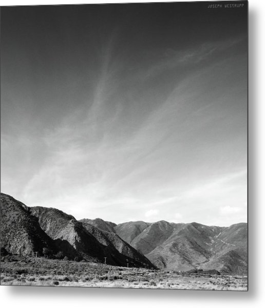 Wainui Hills Squared In Black And White Metal Print