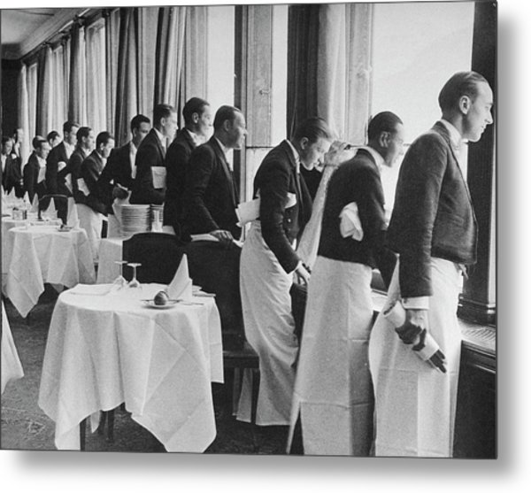 Waiters In The Grand Hotel Dining Room L Metal Print by Alfred Eisenstaedt