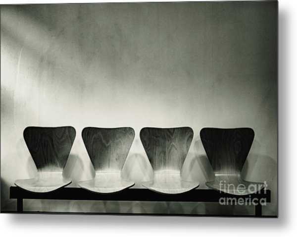 Waiting Room With Empty Wooden Chairs, Concept Of Waiting And Passage Of Time, Black And White Image, Free Space For Text. Metal Print