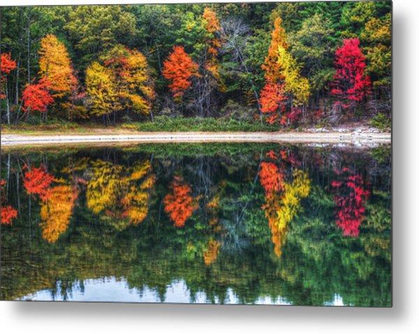 Walden Pond Fall Foliage Concord Ma Reflection Metal Print