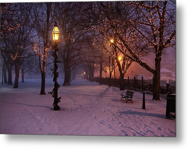 Walking The Path On Salem Ma Common Metal Print