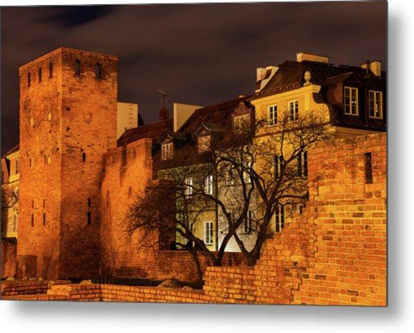 Walled Old Town Of Warsaw At Night Metal Print