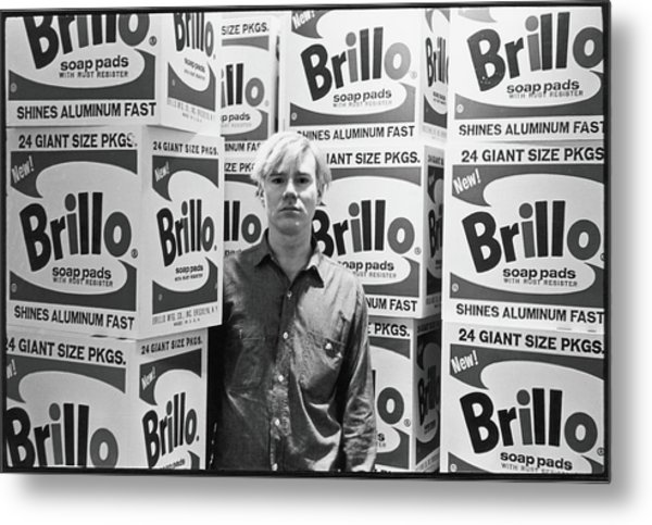 Warhol & Brillo Boxes At Stable Gallery Metal Print by Fred W. McDarrah