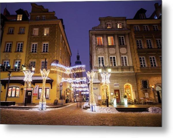 Warsaw Old Town Houses At Night Metal Print