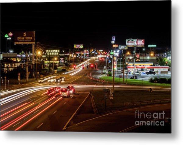 Washington Road At Night - Augusta Ga Metal Print