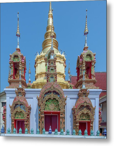 Metal Print featuring the photograph Wat Ban Kong Phra That Chedi Base Dthlu0502 by Gerry Gantt