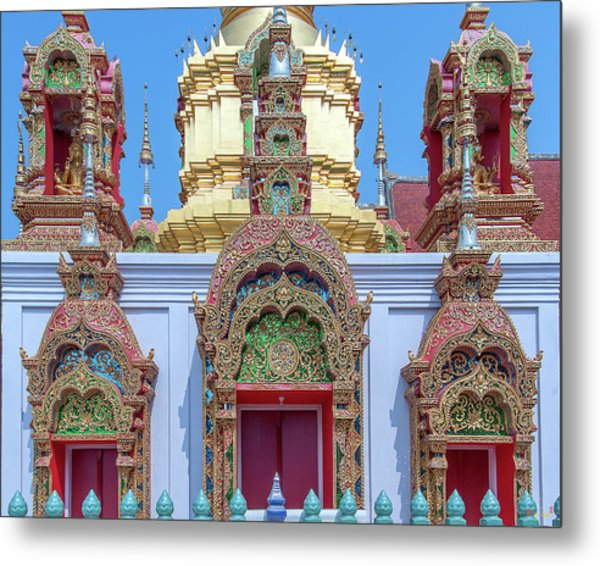 Metal Print featuring the photograph Wat Ban Kong Phra That Chedi Windows Dthlu0503 by Gerry Gantt