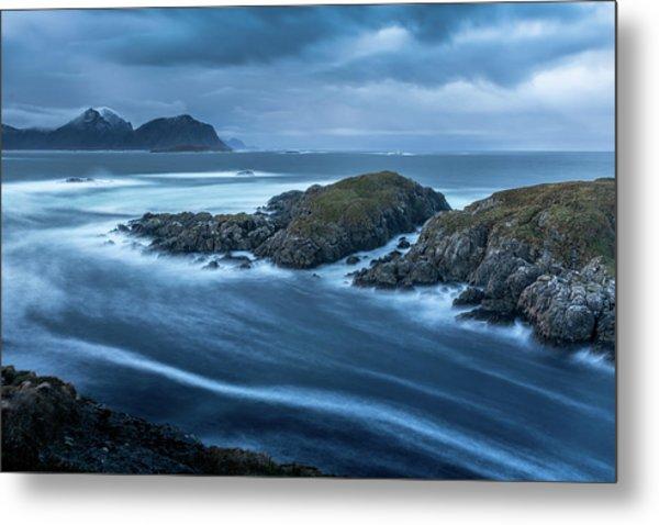 Water Flow At Stormy Sea Metal Print