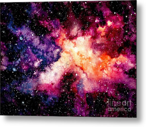 Watercolor Background With Outer Space Metal Print by Nebula Cordata