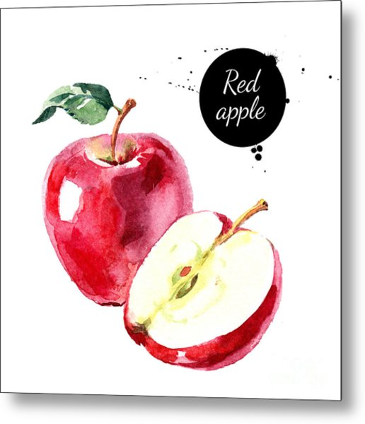 Watercolor Hand Drawn Red Apple Metal Print by Pimlena
