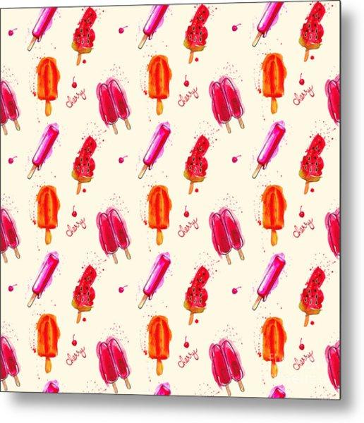 Watercolor Ice Cream Popsicle Seamless Metal Print by Artsandra