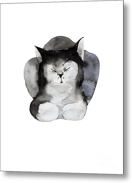 Watercolor Illustration Of Cat For Metal Print