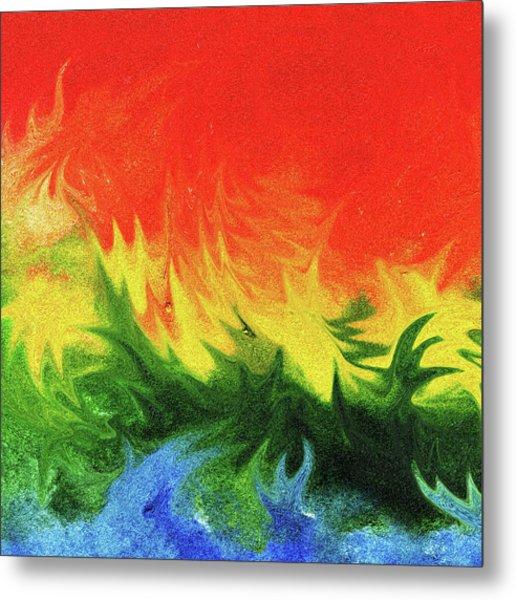 Watercolor Liquid Colorful Abstract II Metal Print
