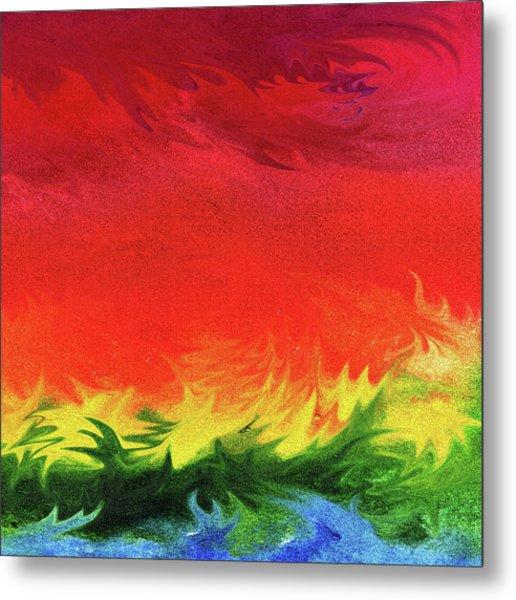 Watercolor Liquid Colorful Abstract Iv Metal Print