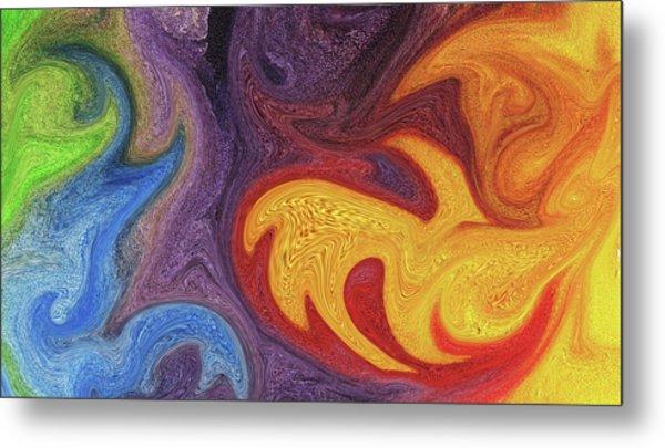 Watercolor Liquid Colorful Abstract Viii Metal Print