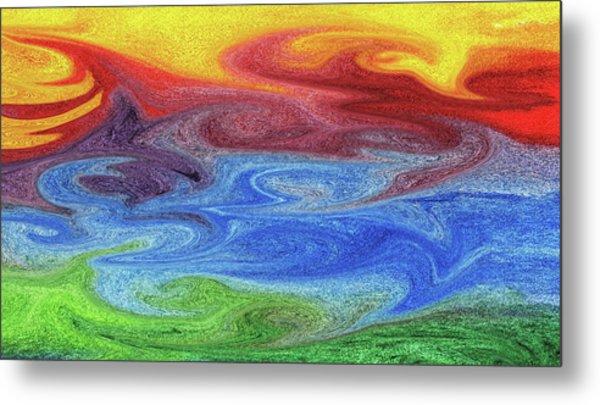 Watercolor Liquid Colorful Abstract Ix Metal Print