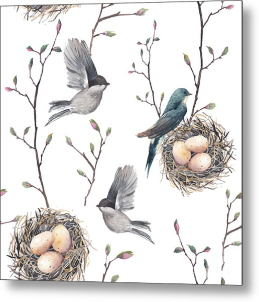 Watercolor Seamless Pattern With Nest Metal Print