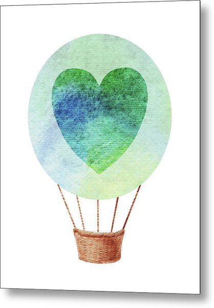 Watercolor Silhouette Hot Air Balloon With Heart IIi Metal Print