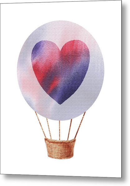 Watercolor Silhouette Hot Air Balloon With Heart Iv Metal Print