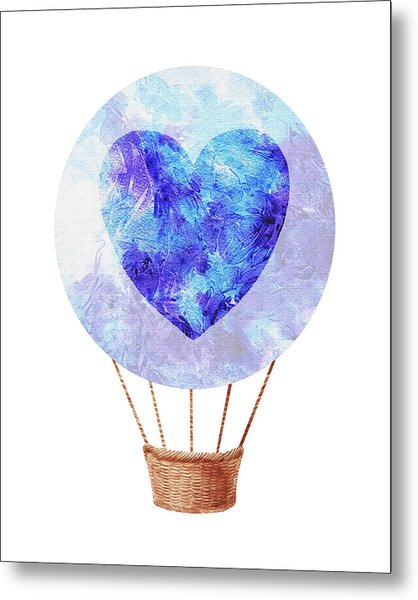 Watercolor Silhouette Hot Air Balloon With Heart Vii Metal Print
