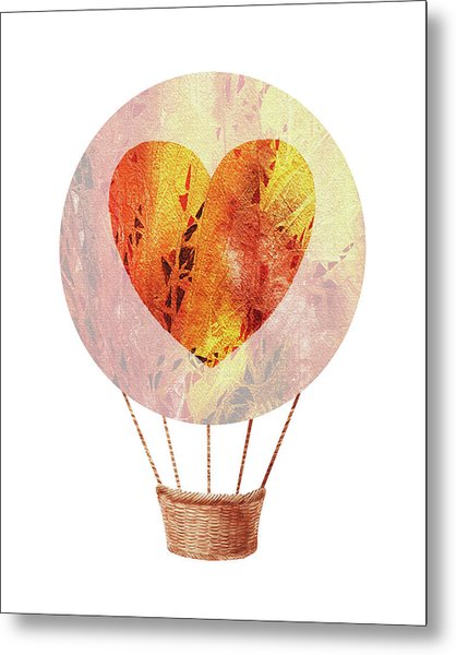 Watercolor Silhouette Hot Air Balloon With Heart Viii Metal Print