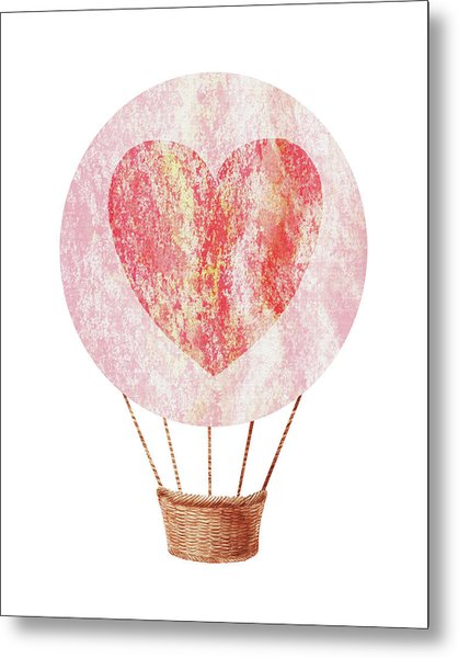 Watercolor Silhouette Hot Air Balloon With Heart Xii Metal Print