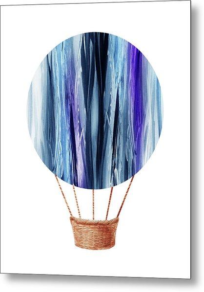 Watercolor Silhouette Hot Air Balloon Xx Metal Print