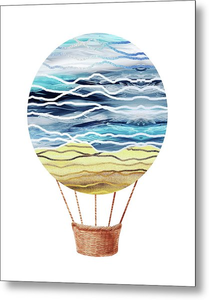 Watercolor Silhouette Hot Air Balloon Xxi Metal Print
