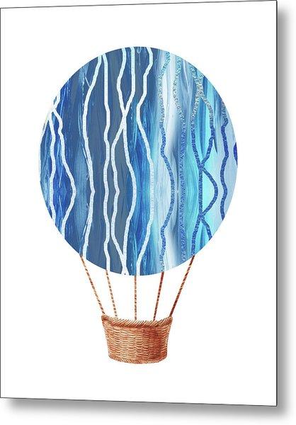 Watercolor Silhouette Hot Air Balloon Xxiii Metal Print