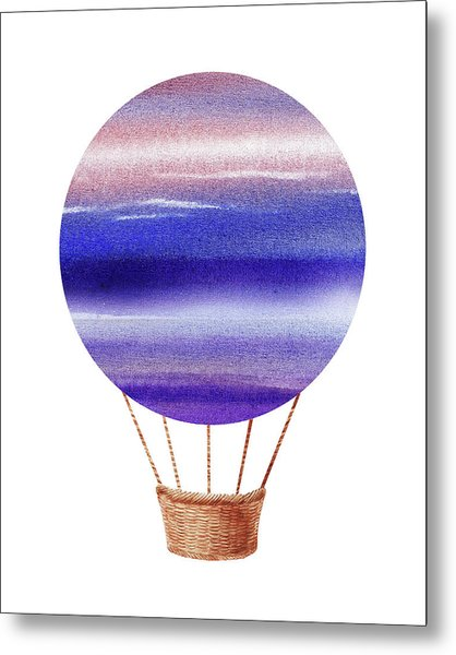 Watercolor Silhouette Hot Air Balloon Xxiv Metal Print