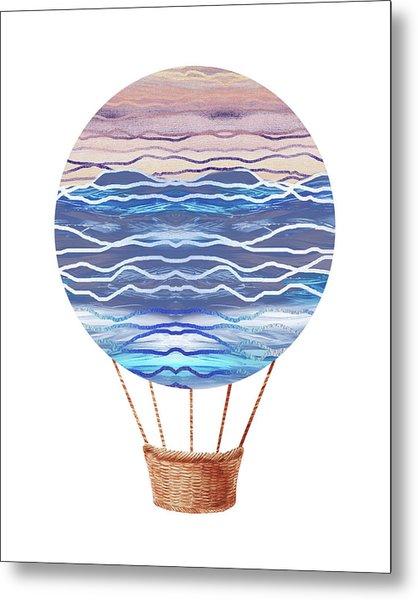 Watercolor Silhouette Hot Air Balloon Xxvi Metal Print