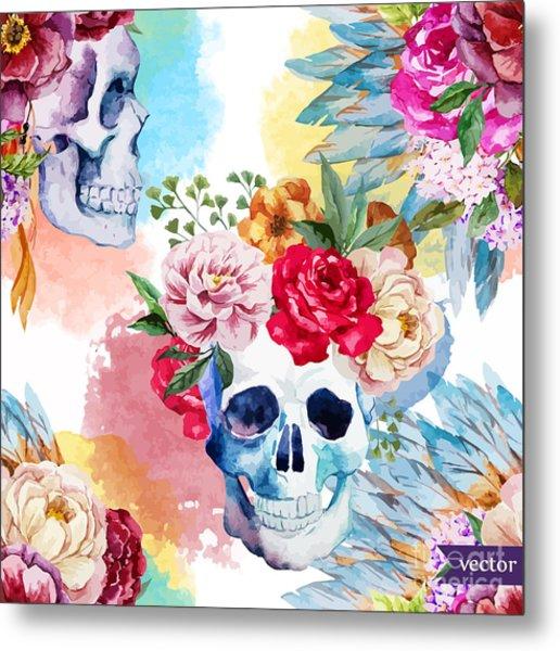 Watercolor, Skull, Flowers, Indian Metal Print by Anastasia Lembrik